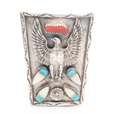 Navajo Diné Sterling Silver Coral, Turquoise and Mother of Pearl Bolo