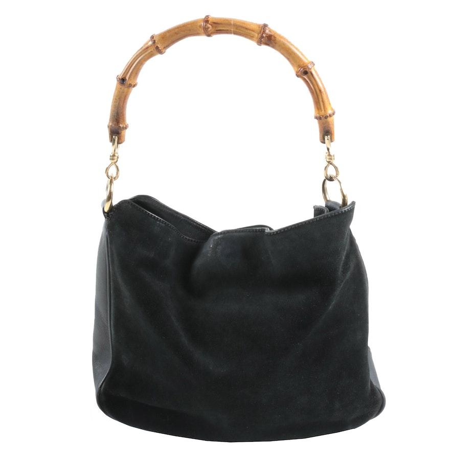 Gucci Bamboo Handle Hobo Bag in Black Suede and Leather