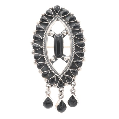 Taxco Sterling Silver Converter Brooch with Black Glass Accents