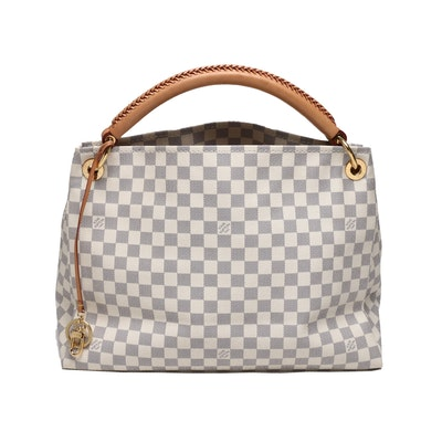 Louis Vuitton Paris Damier Azur Canvas Artsy Hobo Bag with Leather Handle