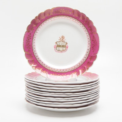 Armorial 10 in. Gilt Decorated Porcelain Dinner Plates, 19th Century