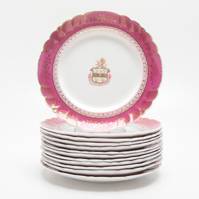 Gilted Trimmed Plates Adorned with a Coat of Arms, 19th Century
