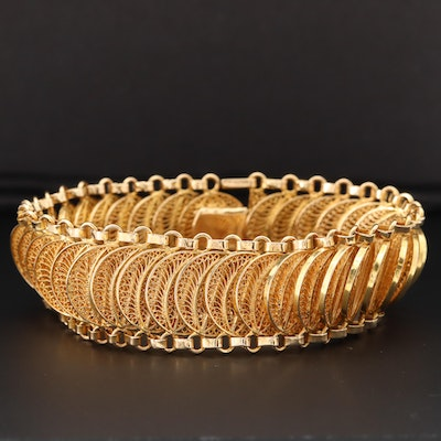 14K Yellow Gold Filigree Link Bracelet
