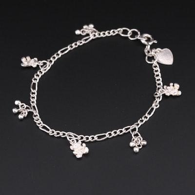 Sterling Silver Teddy Bear Charm Bracelet
