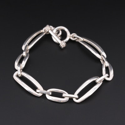 Sterling Silver Elongated Cable Link Bracelet
