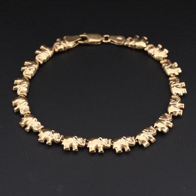 Italian 18K Yellow Gold Elephant Link Bracelet