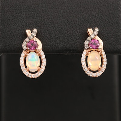 Le Vian 14K Rose Gold Opal, Rhodolite Garnet and Diamond Earrings