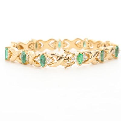 18K Yellow Gold Emerald and 1.98 CTW Diamond Bracelet