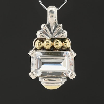 Lagos Caviar Sterling Silver Sapphire Pendant with 18K Yellow Gold Accents