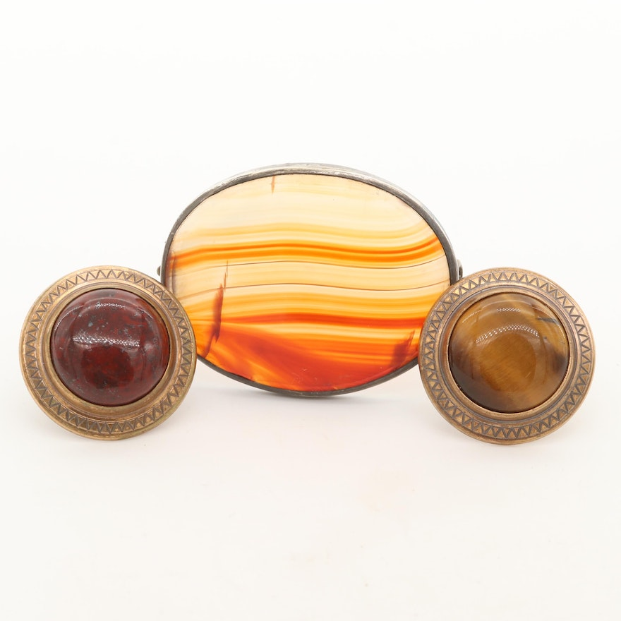 Vintage Agate, Jasper and Tiger's Eye Brooches Including 900 Silver