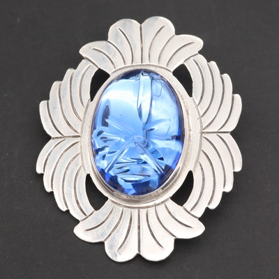 Mexican Sterling Silver Glass Converter Brooch