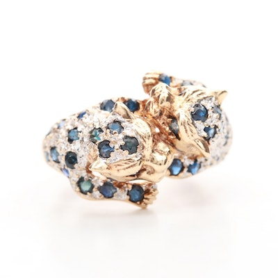 14K Yellow Gold Blue Sapphire and Diamond Panther Ring