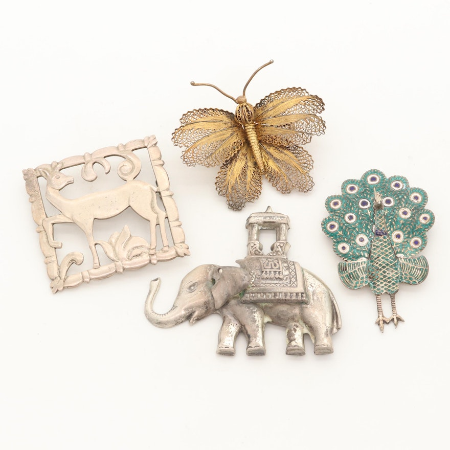 Vintage Sterling Silver Brooches Including Enamel Peacock and Lang Elephant