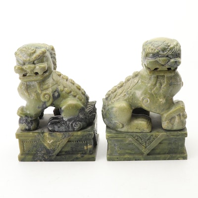 Pair of Chinese Carved Soapstone Guardian Lions
