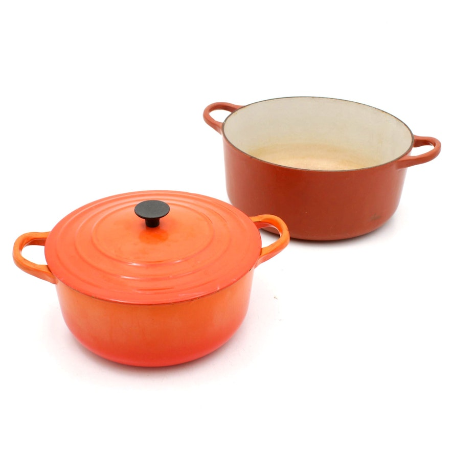 Le Creuset Orange Enamel Dutch Ovens, Vintage