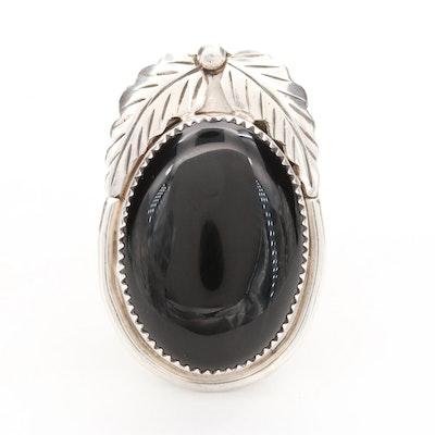 Southwestern Style Sterling Silver Black Onyx Bolo Slide