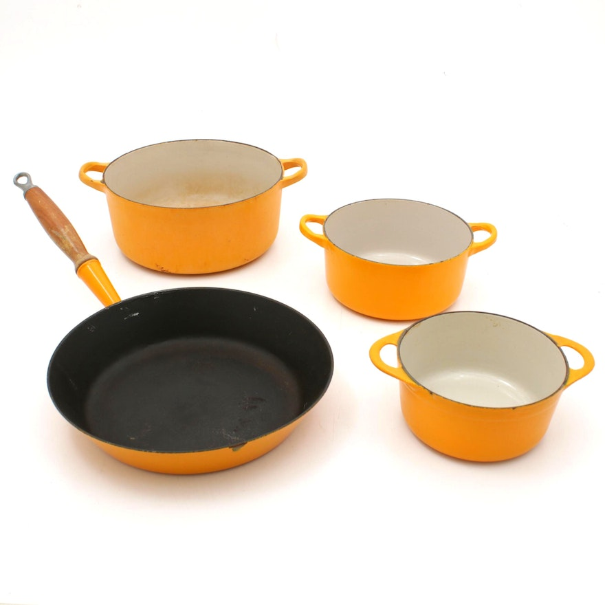 Le Creuset Yellow Enameled Cast Iron Cookware, Vintage