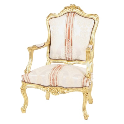 Louis XV Style Carved Giltwood and Upholstered Fauteuil a la Reine, 20th Century