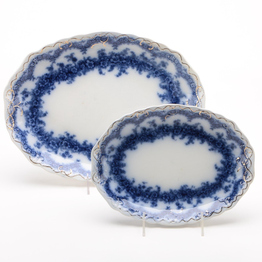 "Wood & Son ""Argyle"" Semi-Porcelain Flow Blue Oval Serving Platters, 1898"