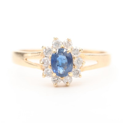 14K Yellow Gold Blue Sapphire and Diamond Halo Ring