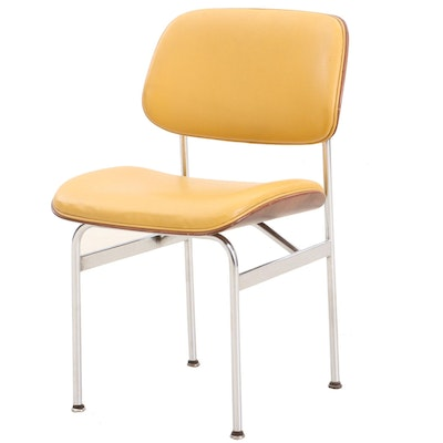 Mid Century Modern Thonet Upholstered Birch and Chrome Side Chair