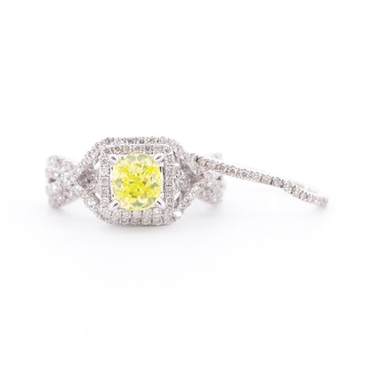 14K White Gold 2.16 CTW Diamond Ring Set