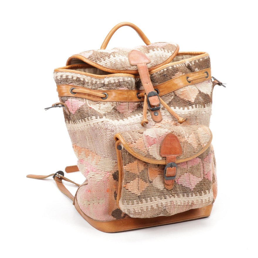 Turkish Kilim Backpack Trimmed in Leather
