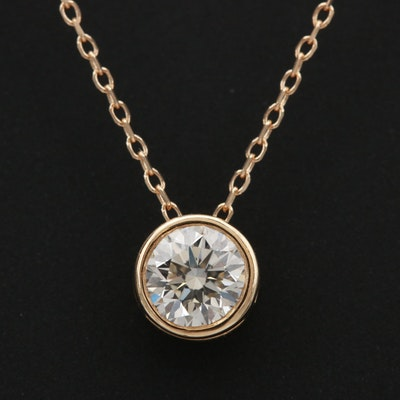 14K Yellow Gold Diamond Solitaire Slide Pendant Necklace