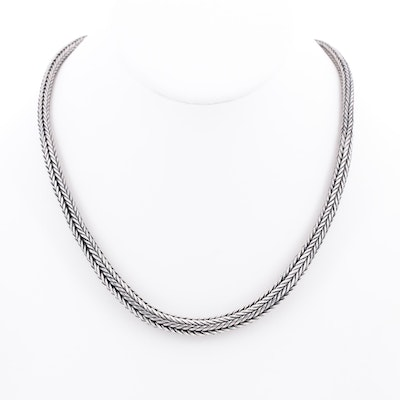 Sterling Silver Graduated Foxtail Necklace