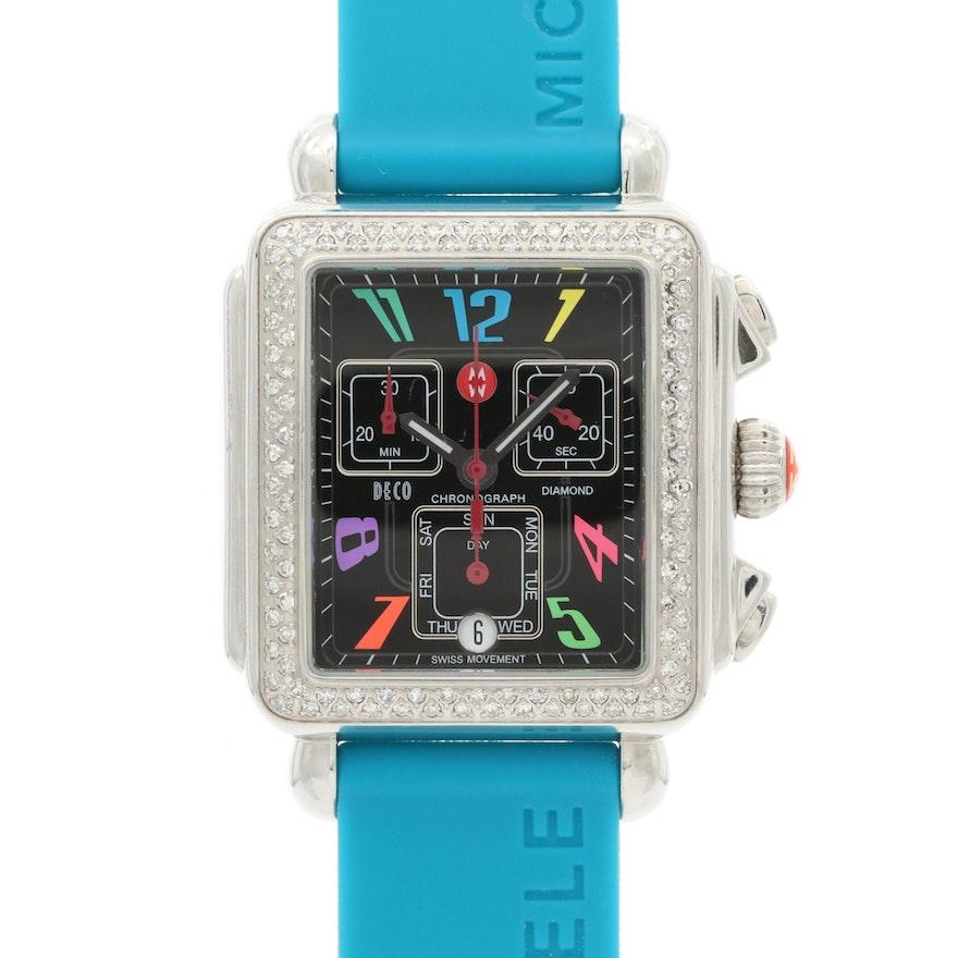 Michele Deco Diamond and Stainless Steel Quartz Chronograph Wristwatch