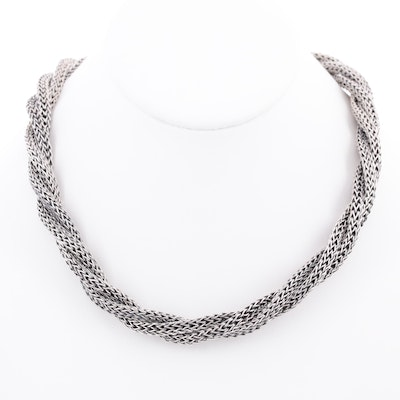 Sterling Silver Twisted Triple Strand Necklace