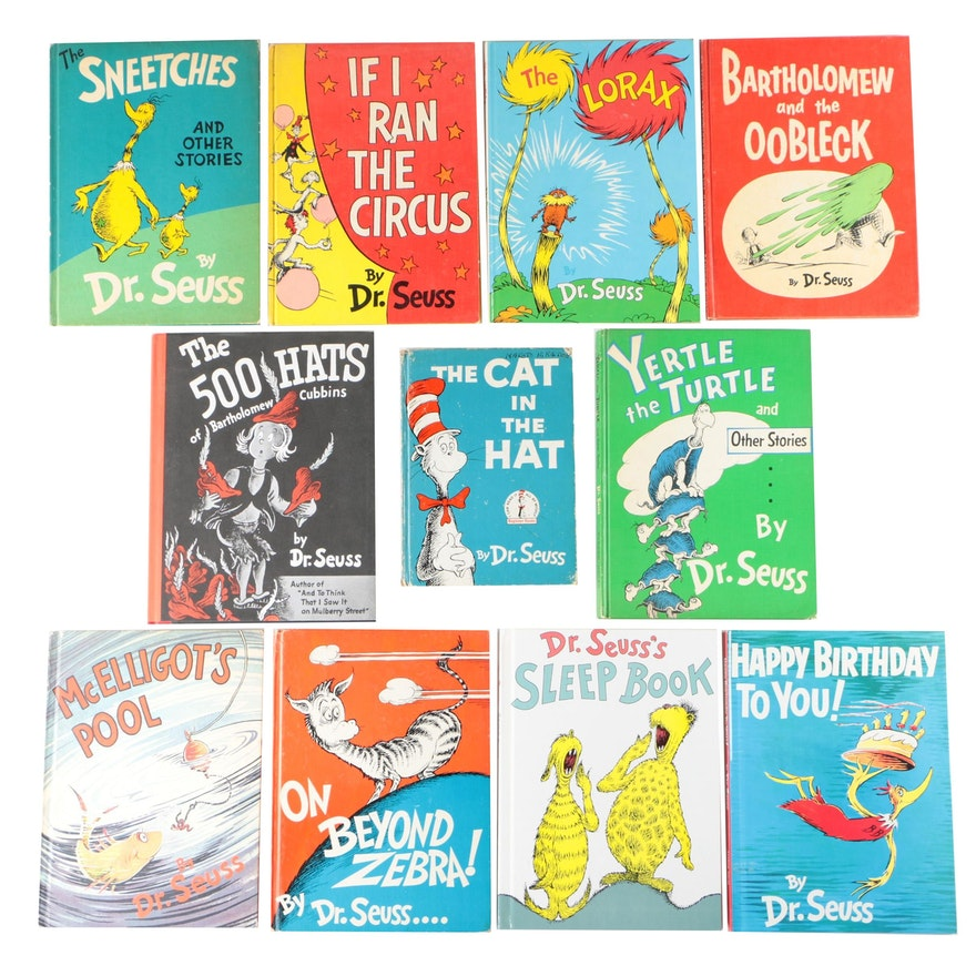 "Dr. Seuss Books including ""The Lorax"" and ""The 500 Hats of Bartholomew Cubbins"""
