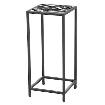 Horn Inlaid Metal Stand, Contemporary