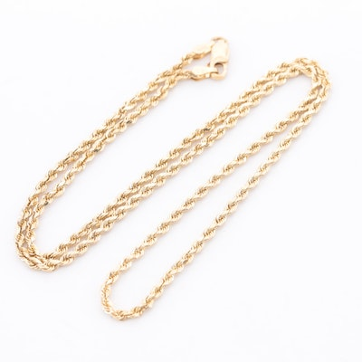 14K and 18K Yellow Gold Rope Chain Necklace