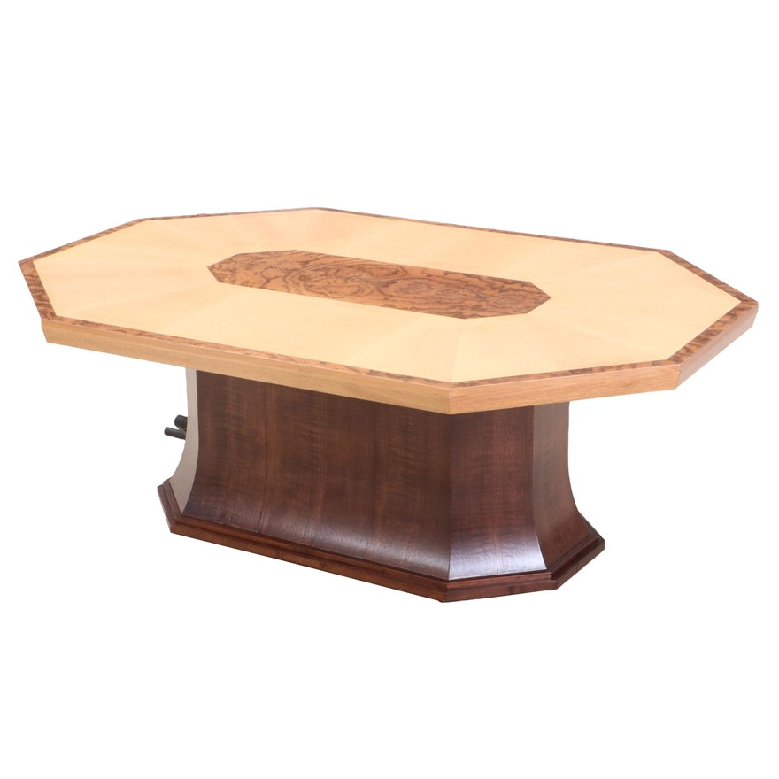 Admirable Walnut Burl And Spruce Veneered Hydraulic Coffee Dining Table Theyellowbook Wood Chair Design Ideas Theyellowbookinfo