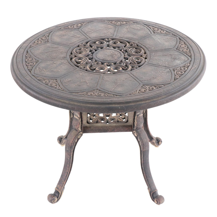 Contemporary Bronze Finished Aluminum Patio Side Table