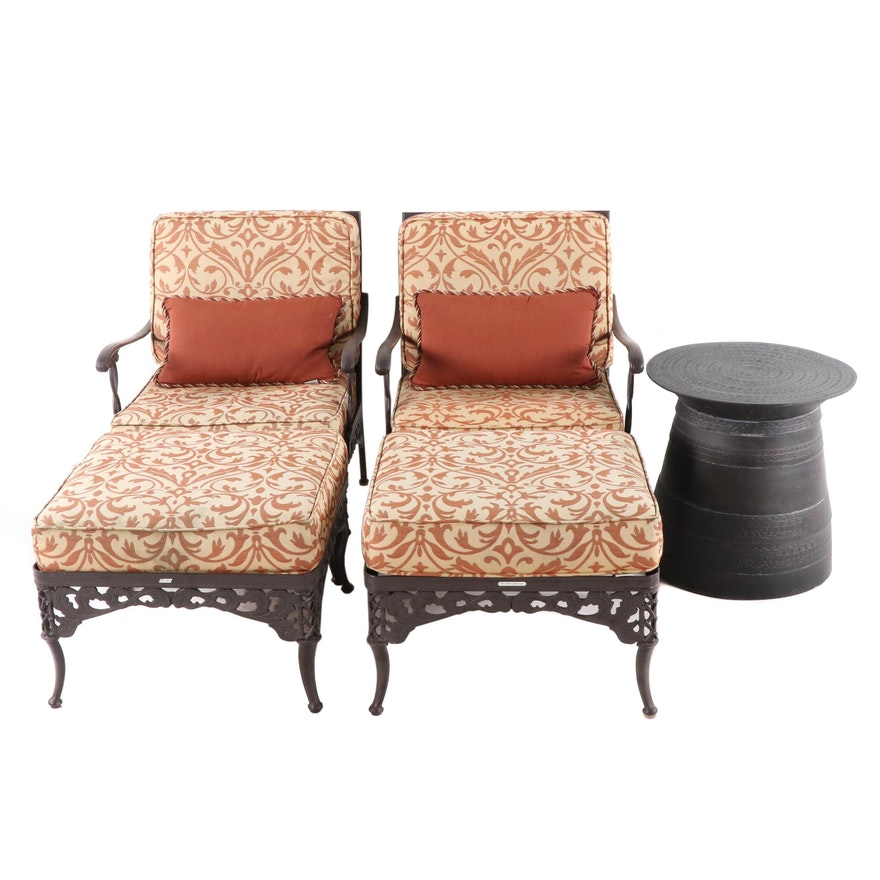 Contemporary Brown-Jordan Aluminum Patio Armchairs, Ottomans and Table