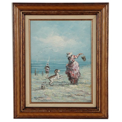 Marie Charlot Figural Oil Painting of Woman and Dog