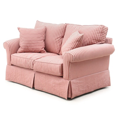 Alan White Striped Upholstered Loveseat, Contemporary