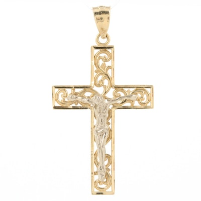 14K Yellow and White Gold Crucifix Pendant