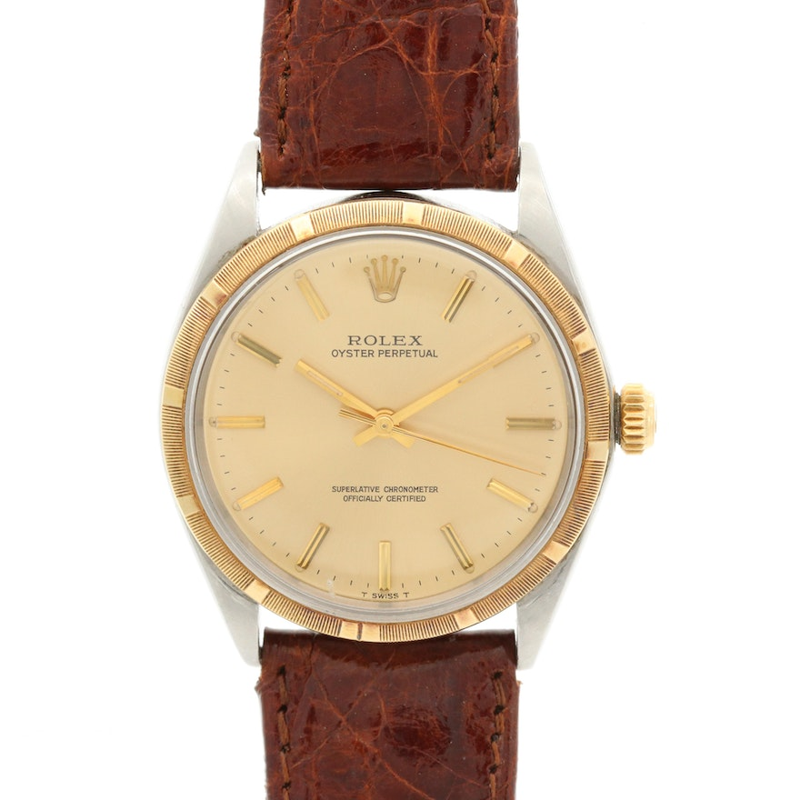 1968 Rolex Oyster Perpetual 14K Gold and Stainless Steel Wristwatch