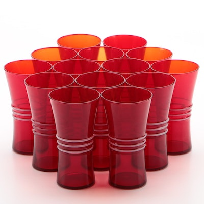 Ribbed Red Water Glasses, Mid/Late 20th Century