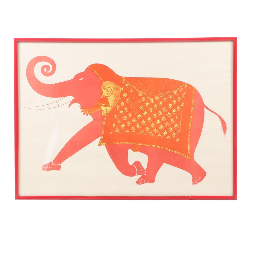 Mid 20th Century Woodblock of Orange Elephant