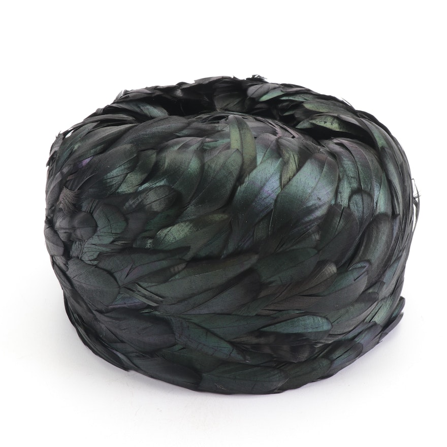 Iridescent Black Feather Pillbox Hat with Hat Box, 1960s  Vintage