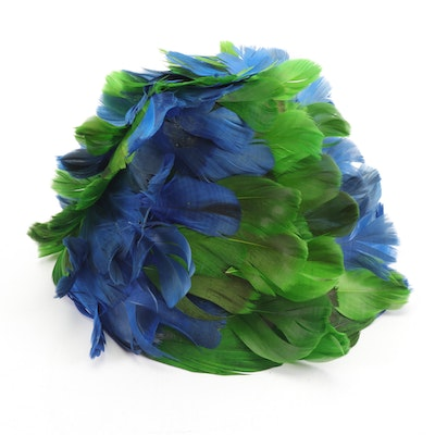 Henry Margu Creations Green and Blue Feather Hat with Hat Box, 1960s Vintage
