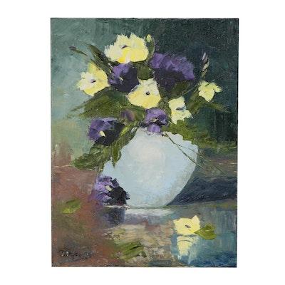 "James Baldoumas Still Life Oil Painting ""Floral"""