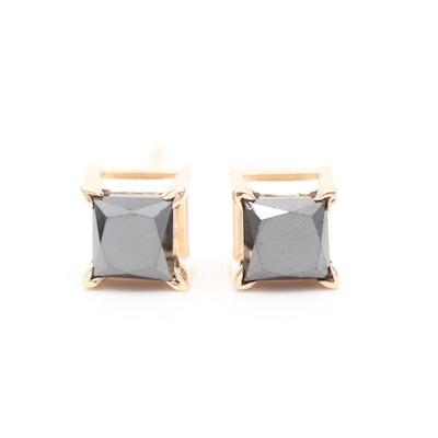 14K Yellow Gold Black Diamond Stud Earrings