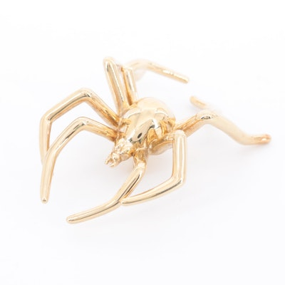 14K Yellow Gold Spider Brooch