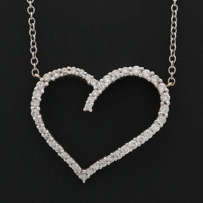 14K White Gold 1.00 CTW Diamond Heart Pendant Necklace