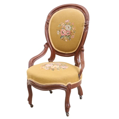 Victorian Walnut Needlepoint Upholstered Parlor Chair, Circa 1870s